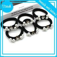 New Korean fashion women's hair rope hairband high elastic six white pearl towel ring rubber band