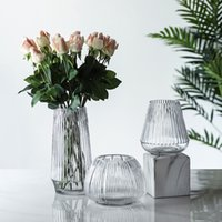 Keel transparent glass vase hydroponic modern large countertop decoration vertical edge handmade ornaments factory direct sales