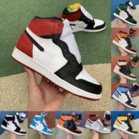 Jumpman 1 1s Sapatos de Basquete Homens Mulheres Chicago Criado Jogo Preto Green Game Royal Un Unc Patent Tribunal Roxo amor Fragmento Desfilado Fragmento Banned Twist Sports Shot