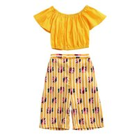 Clothing Sets Summer Toddler Baby Girl Set Off-the-shoulder Solid Color Top+floral Trousers 2pcs Suit Fashion Sweet Casual Children Clothes#