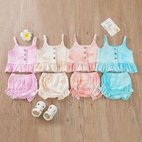Baby Clothes Girls Tie Dye Tracksuit Clothing Set Cotton Sleeveless Button Ruffles Crop Tops High Waist Shorts Outfits 4 Colors BT6525