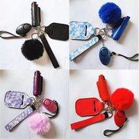 pcs Defense Keychains Set Lncluding 20ml Spray Alarm Pompom Keychain Hand Sanitizer Wristband Keyrings For Woman Men Self-de
