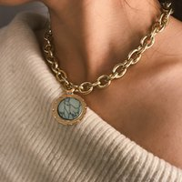 2021 Vintage Green Stone Pendant Necklace Statement Gold Color Metal Long Chain Necklace for Women Jewelry
