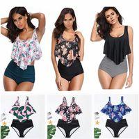 Beach Swimwear Costumi da bagno Costumi da bagno Bikini Bikini Due pezzi Costumi da bagno Abiti arruffati Flounce Top High Vita a vita alta Tankini Set M7R0 #