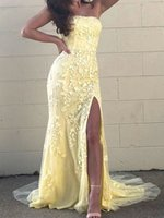 Charming Strapless Evening Dress with Lace Appliques Side Split Long A-line Prom Dresses for Formal Occasions Custom Made