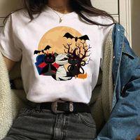 Ropa gráfica gato de dibujos animados bruja tops de mujer tops divertido impresión manga corta caída de halloween camisetas camiseta femenina