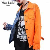 Максимальная мода корейский дизайнер девушки панк-стрит одежда лоскутная женщина джинсовая куртка вышивка одежда женские джинсы пальто осень1