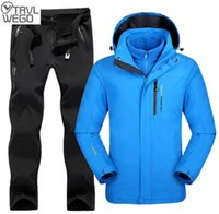 Outdoor Jackets&Hoodies TRVLWEGO Winter Men Ski Jacket Suits Hiking Camping Sports Fleece Windbreaker Thermal Pants Man Sets Super Warm