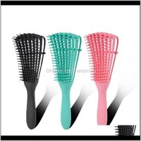 Brushes Care & Styling Tools Products Drop Delivery 2021 Detangling Der Natural Black Hair De Comb For Thick Curly With Nylon Brush Teeth Chg