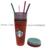 Tumblers 5color 24OZ Plastic Drinking Juice Cup With Lip And Straw Magic Coffee Mug Costom Starbucks 1L6G