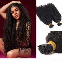Afro Kinky Kıvırcık I Ucu İnsan Saç Uzatma Bakire Brezilyalı Keratin Önceden Yapışan Stick I İpucu Saç Doğal Siyah 100g 1g Strand