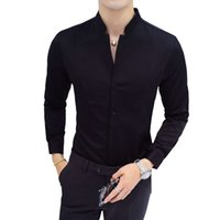 Negro Rojo Blanco Camisa de manga larga Slim Design Shirt Hombres Soporte Cuello Hombre Camisetas Tamaño Asiático S -5XL