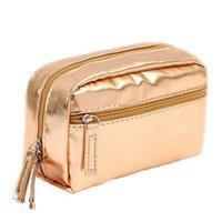 Borsa per il trucco impermeabile colorato alla moda edizione coreana in pelle PU sacchetto di stoccaggio borsa con cerniera viaggio borsa da viaggio colorato