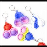 Party Favor Wholesale Dimple Keychain Fidget Sensory Pop Toys Push Bubble Triangle Bag Pendants Squeeze Sile Toy Key Ring S4Ktt Ec5Qo