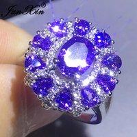 Anneaux de mariage Luxe Femelle Purple Pierre Poire Zircon Gros Pour Femmes Hommes Couleur Silver Couleur Ovale Cristal Bands Bands Année cadeaux