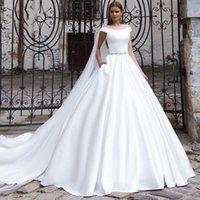 Other Wedding Dresses Robes De Mariée Luxury Matte Soft Satin Sleeveless Diamond Belt Princess Gowns Button 50cm Train Tailor-Made