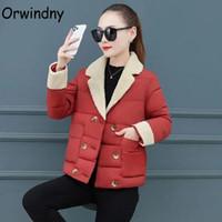 Orwindny Lambswool Warm Winter Coat Women Fashion Short Parkas Female Solid Long Sleeve Padded Clothing Outerwear Women's Down &