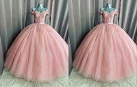 Dusty Pink Off the Shoulder Mexican Quinceanera Dresses with Cap Short Sleeve Sequined Tulle Applique Satin Vestido de Sweet 15 Prom Eveening Dress