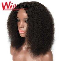 Afro kinky curly mittlere teile perücke spitze schließung menschliches haarperücken volle natürliche farbe 4 * 4 180% peruanisch remy