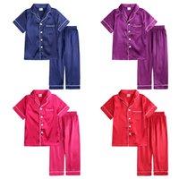 أطفال منامة مجموعات الفتيات الحرير الحقيقي يتسابق الأطفال بلون قمم + السراويل 2 قطع / دعوى أزياء الربيع الصيف ملابس الطفل ملابس خاصة Z2923