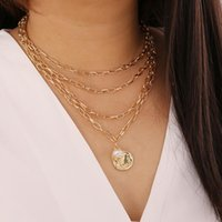 Pendant Necklaces Multi Layer Lover Necklace Queen Head With Pearl Choker Steampunk Coin Chain Collier Couple Jewelry Gift
