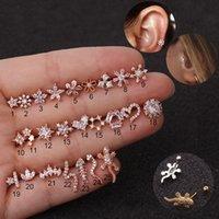 1 pc ouro cor prata cor animais flor cz trágio cartilagem de aço inoxidável hélice prisioneiro piercing cristal zircão daith brinco 1213 Q2