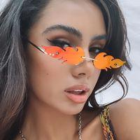 Personalized cut edge rimless sunglasses flame shaped glasses Women Eyeglasses ocean pieces colorful Sunglasses 9152