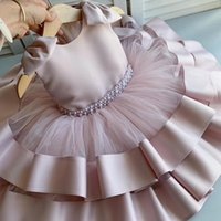 소녀의 드레스 태어난 아기 Bownot Dress 1 년 소녀 2 번째 생일 투투 크리스천 가운 웨딩 침례 의류 유아 파티 착용