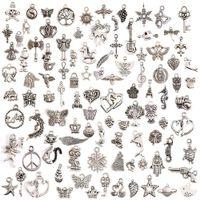 Janedream 100 أنماط / مجموعة التبتية الكثير أنماط مختلطة سحر الشماعات diy مجوهرات لسوار سلسلة