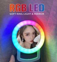 Мода 2021 RGB Освещение Мобильный телефон Живая Красота Селфи Светодиодная Кольцо Веб-Знаменитости Ослепительная Сияющая линза Наполнитель Ламп Зарядки с макияжем