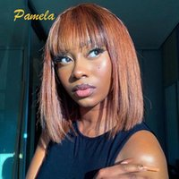 Lace Wigs Ginger Short Bob Human Hair For Women Blonde Straight Blunt Cut Wig Colored PrePlucked And Bleached Knots