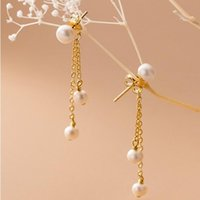 Dangle & Chandelier Graceful Simple 925 Sterling Silver Natural Freshwater Baroque Pearl Tassel Chain Earrings For Women Fashion Korean S925