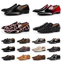 Red Bottoms Kutu ile 39-47 Loafers Ayakkabı Erkek Elbise Ayakkabıları Orijinal moda Rahat Erkekler Lüks Marka Tasarımcısı Sneakers Platformu Düğün İş Deri Düz Topuk