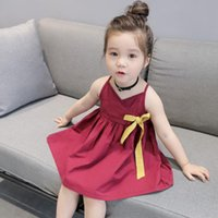 Niñas Niñas Summer Princess Kids Baby Party Boda Vestido sin mangas Vestido Cheongsam Redondo Cuello Vestido Trajes Robe Vestido # 45 Vestidos de niña