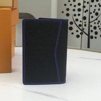Titular de la tarjeta de crédito de cuero real Cartera hombres de negocios Hombres Bifrold ID Estuche monedero Futura Fashion Money Bag Moneda Bolsillo Negro Color negro con descuentos de caja para más compras