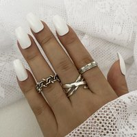 Gold Silver Ring Plating Chain Shape for Women Men Vintage Gothic Chunky Hip Hop Rings Antique Jewelry Accessory 53352