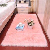 مستطيل لينة رقيق السجاد الغنم منطقة السجاد الشمال الأحمر مركز غرفة المعيشة الطابق الأبيض فو الفراء السرير البساط