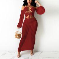 Abiti casual Sexy Bodycon Dress Long Transparent Per Womens Halter Slash Neckless Serale Night Club Abbigliamento Abiti Mujer 2021