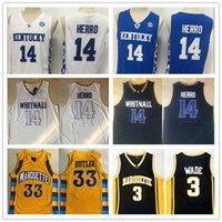 NCAA Kentucky Wildcats Tyler Herro 14 Kolej Formaları Gömlek Whitnallstitched Marquette Jimmy Marquette Golden Eagles Wade Butler