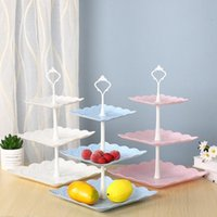 Detachable 3 Layers Cake Stand Square Plastic Fruit Tray Des...