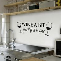 Wall Stickers 23.5*55cm Wine A Bit You'll Feel Better Art Decal Home Decor Relax Quotes Living Room Kitchen Removable