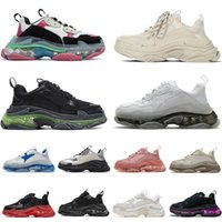 2021 최고 품질의 플랫폼 스니커즈 캐주얼 아빠 신발 남성 여성용 트리플 S 17FW 파리 화이트 블랙 베이지 색 고급스러운 디자이너 신발 크기 36-45