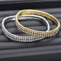 Mujeres Sexy Clear Shining Crystal Rhinestone Gold / Silver Color Toblet Cadena Tobillo Pulseras Pie Jewelry