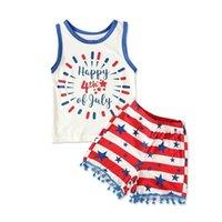 الأمريكية الاستقلال يوم سترة رسائل الكرتون الأعلى + السراويل مجموعات طفل الفتيات الصيف أكمام اثنين من قطعة رياضية بيجامة الملابس G47LXE9