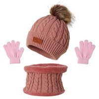 Clothing Sets 3 Pcs Winter Warm Baby Solid Color Hat Gloves Scarf Set Fur Ball Beanies Mitten Scarves Kit For Toddler Girls Boys