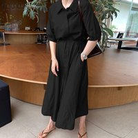 Casual Dresses Women Baggy Maxi Sundress Kaftan Long Shirt Dress Elegant Lapel Button Stylish Solid Robe Ladies Lace Up Vestidos Femme