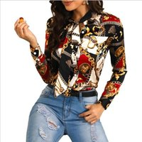 Women Blouse Fashion Streetwear Panelled Contrast Color Chain Pattern Print Womens Shirts Autumn Long Sleeve Lapel Neck Tie Tops Sexy Shirts