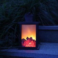 Portable Lanterns Ornament Battery Operated Gift Outdoor Lantern Light Lawn Fireplace Flame Led Handle Indoor Hanging Retro Decorative