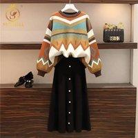 Vestido de dos piezas Smthma Otoño de punto de punto 2 set de las mujeres gruesas sueltas de impresión geométrica suéter + faldas negras Traje FemaleTwo-Pieces