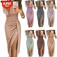 [Frocks]Women's bag hip slit one-neck dress shiny evening party #la9S